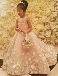 Wholesale Matches Design - Romantic Princess Flower Girl Dresses 2018 New Design Matched Big Bow 3D Applique Pearls Kids Long Bridesmaid Dress Girl Pageant Gowns F61
