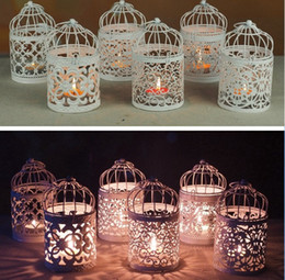 Wholesale Airline Plastic Bag - 6 style Romantic Hollow Hanging Bird Cage Candle Holder Candlestick Lantern wedding hotel bar decorative lights Home dinner Planter Decor