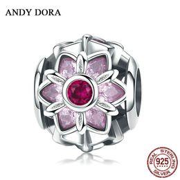 deslizador pulsera de cuentas espaciadoras Rebajas 2018 Romantic Pink Cherry Blossoms Bead Charms 925 pulseras originales de plata esterlina para mujer hombre cuentas para Diy fabricación de joyas