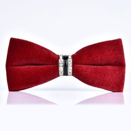 Wholesale High Quality Groom Shirts - High Quality Men's Bow Tie Velvet Crystal Groom Marriage Wedding Bowties Butterfly Shirt Collar Tie Red Black Necktie For Men