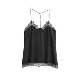 Wholesale Wholesale Crops Tops - Cropped Feminino 2017 Ladies Summer Chiffon Tops Women Loose Casual Crop Top Women's V-Neck Lace Vest Shirts Cami Black #YL
