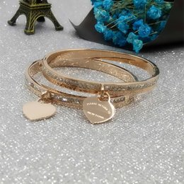 "titanium bangle rose gold Promo Codes - peach Bracelets woman crystal Bracelet Women party rose gold bangles ""Please return to the owner series"""