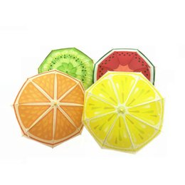 Wholesale Cartoon Kids Umbrellas - Novelty Fruit Orange Watermelon Lovely Kid Child Cartoon Sunny Rainy Umbrella Long Handle Boy Girl Gift ZA6418