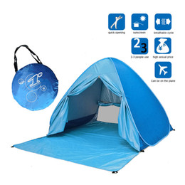 Wholesale tent umbrella - Portable Beach Tent Anti-UV Automatic Pop Up Sun Protection Umbrella Camping B2Cshop