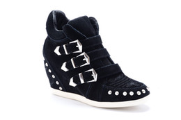 Wholesale Size Wedge Sneakers - Black Rivet Fashion Sneakers Genuine Leather Height Increasing Women's Boots size 35-39 Women's Shoes Casual Shoes