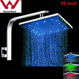 Wholesale Modern Shower Faucets - Modern 16 Inch LED High Quality Chrome Brass with Diverter Hot and Cold Water Mixer Excellent and Convience Bathroom Faucet