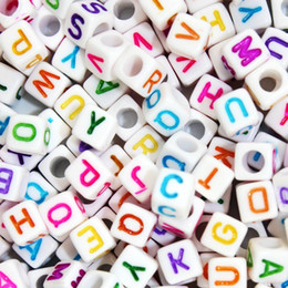 acrylic alphabet cube Promo Codes - 100pcs lot 6mm White Different Alphabet Beads Acrylic Colorful Letters Beads For Children Education DIY Jewelry Bracelet