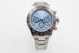 Wholesale Automatic Christmas Light - Luxury Brand Automatic Movenent MENS MEN COSMOGRAPH Perpetual Sport Light Blue Platine Ceramic Bezel Wrist Mens Watch