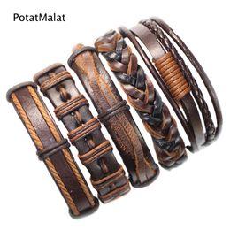 2019 ethnische stammesarmbänder für männer Freies Verschiffengroßhandels (5pcs / lot) kühle Armreifen ethnische Stammes-echtes justierbares ledernes Armband für Männer-WT17 günstig ethnische stammesarmbänder für männer