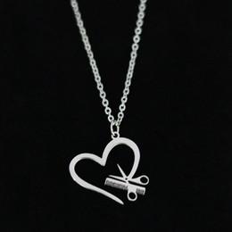 pettine a forma di cuore Sconti Forbici pettine ciondolo collana in acciaio inox a forma di cuore argento oro amante catena a maglia per le donne gioielli regalo di fascino all'ingrosso