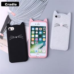 Telefoni rossi lg online-Cute 3D Silicone Cartoon Cat Pink Black Glitter copertura della cassa del telefono molle per Iphone X XR XS MAX 6 7 8 Plus