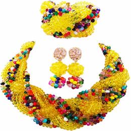 ensemble de bijoux nigérians en perles jaunes Promotion Belle Jaune Multicolors Cristal Perlé Colliers Costume Mariage Nigérian Perles Africaines Bijoux Ensemble pour les Femmes 12BZ19