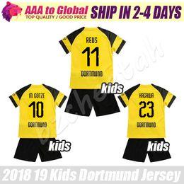 Crianças borussia on-line-Crianças reus Conjuntos de camisa De Futebol 2019 BVB Crianças Gotze Pulisic Kagawa Piszczek jovem camisa de Futebol kits Borussia camisas kit