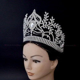 Wholesale Princess Party Tiaras - Thinestone Crowns Tiaras Lager Adjustable Miss Pageant Bridal Wedding Queen Princess Party Prom Night Clup Show Headdress Hair Clip Mo040