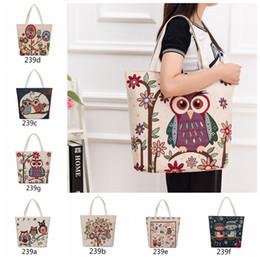 Wholesale Owl Print Handbags - Women Embroidered Floral Handbag Night Owl Printed Shoulder Bags Canvas Birds Lady Shopping Bag Totes Female Travel Beach Bag