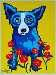 pittura nera rossa fatta a mano Sconti George Rodrigue Blue Dog Primavera è qui di alta qualità dipinta a mano HD stampa pittura a olio Home Decor Wall Art su tela a137