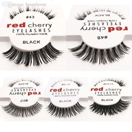 Wholesale Red Cherry Makeup - 2018 Hot 15 styles RED CHERRY False Eyelashes Natural Long Eye Lashes Extension Makeup Professional Faux Eyelash Winged Fake Lashes Wispies