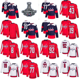 Wholesale youth hockey cup - 2018 Stanley Cup Champions Youth women Capitals 8 Alex Ovechkin 77 TJ Oshie 70 Braden Holtby 92 Kuznetsov 43 Tom Wilson Backstrom Jerseys