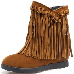 d97af48d821 Hot style high quality European and American large size frosted tassel ankle  boots