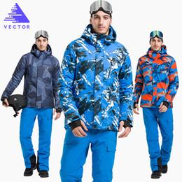 Wholesale orange snowboarding jackets - Wholesale- VECTOR Brand Ski Suit Set Men Warm Winter Windproof Waterproof Skiing Snowboarding Suits Set Male Outdoor Ski jacket Pants