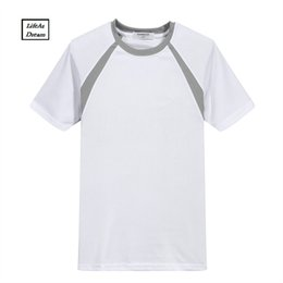 Wholesale Wholesale Shirt Fabric - Brand 2018 Men's Summer casual Wicking Mesh T-Shirt New Cheap Solid color Quick Dry Tops Tee Plus Size fabric T Shirt 4XL