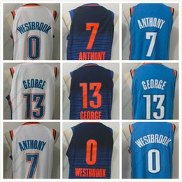 Wholesale Quality Player - 2017-18 New OKC 0 RW 7 CA 13 PG Player Version Basketball Jerseys For Men White Blue Deepblue S-XXL Top Quality Wholesale
