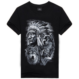 Camicie con marchio indiano online-3d Wolf T Shirt Mens Marca 3D Indiani lupo Stampa magliette Cotone lupi Uomo t-shirt Casual Uomo Tees Mens Top