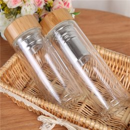 Wholesale Cups Cover Glass - 350 450ml Bamboo Cover Double Layer Glass Tea Leakproof Glassware Transparent Water Bottle Thick Heat Insulation Cup AAA33