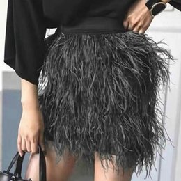 Wholesale Feathered Layered - KoHuiJoo Autumn Winter Women Ostrich Feather Skirt Mini Black Green Pink Fashion Lady Short Skirts Tassel Layered Adult skirt