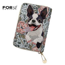 Wholesale funny bulldog - FORUDESIGNS Wallet for Credit Cards Funny Boston Terrier Bulldog Business Card Holder Women's Coin Purse Students Fold Wallets