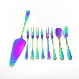 Set de cuchillos tenedor de frutas online-De alta Calidad de Acero Inoxidable Tenedores de Frutas Rainbow Butter Cuchillo Vajilla Set Cake Cuchillo Postre Tenedor Vajilla Set 9 unids / set
