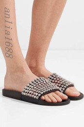 Wholesale Embellished Sandals - 2018 womens fashion crystal-embellished leather and rubber slides sandals with rubber sole girls summer outdoor beach slippers
