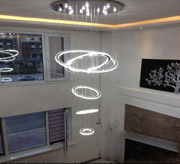 luz de teto minimalista moderna Desconto HOT 5 anel círculo Modern minimalista penthouse piso sala de estar levou luzes de teto criativo villa longo luzes da escada circular