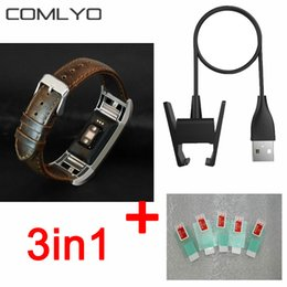 Wholesale Film Charger - 3in1 For Fitbit Charge 2 Screen protector Superior Thin HD Film bracelet For fitbit charge 2 strap leather band+ USB charger