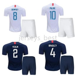 Wholesale united states uniforms - 18 19 United States Home Away Soccer Jerseys Shorts 2018 PULISIC DEMPSEY PULISIC WOOD Football Kits Adults best Quality Sports Uniforms Suit