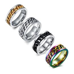 acessórios giratórios Desconto Beichong anel dos homens da moda o punk rock acessórios de aço inoxidável preto cadeia spinner anéis para homens 3 cor
