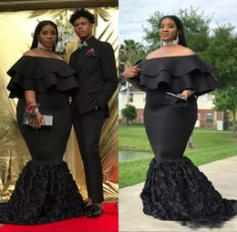 Wholesale two tier formal lace dress - Plus Size Mermaid Prom Dresses Black Off The Shoulder Cheap Evening Gowns Ruched Sweep Train 3D rose floral African Women Formal Party Dress