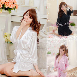 Wholesale Wholesale Women Silk Pajamas - Wholesale- The New listing Women Sexy Satin Lace silk Robe Sleepwear Lingerie Nightdress G-string Pajamas