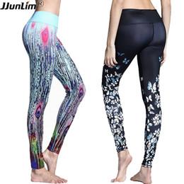 Цветочные обтягивающие брюки онлайн-Women Floral Printed Yoga Pants Elastic Leggings Sport Fitness Pants Gym Workout Running Dance Tight Female Sport Trousers