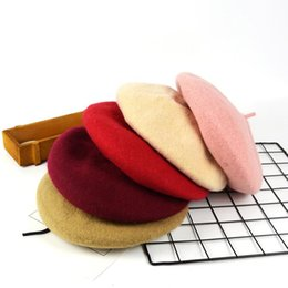 Wholesale beret hat kids - 10 Colors Fashion Pure Wool Beret Keep Warm For Women Kids Winter Hat Ear Muff Cap 12pcs NNA321