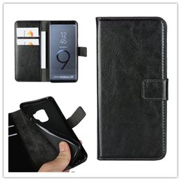 Wholesale wallet card insert - For Samsung S6 S7 Edge S8 S9 Plus PU Wallet Leather Case Insert Card Crazy Horse Pattern Phone Case Cover For Samsung A3A52017