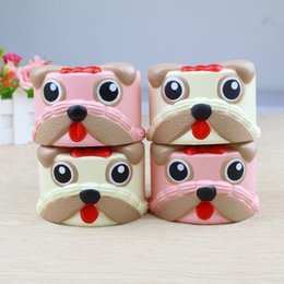Wholesale Dog Squeeze Toys - Cute Dog Head Cake Squishy Toy Slow Rising Cartoon dog Squeeze Decompression Toys Novelty Items kids toy gift FFA221 20pcs