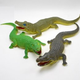Wholesale Wholesale Alligator Toy - 1 Pcs New 30cm Green brown gray alligator Lifelike Simulation Animals crocodile Action Figure Toy For Kids