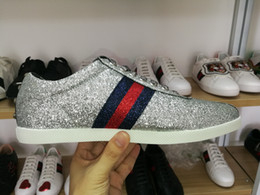 2019 резиновая балерина Новый человек люксовый бренд обуви блеск веб кроссовки с шипами полоса с высоким качеством повседневная ace обувь дизайнерская обувь для женщин размер 35-46