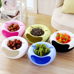 Wholesale Plastic Round Tray - European style Food-grade plastic lazy fruit bowl eat melon artifact detachable double candy tray round fruit box melon fruit storage box
