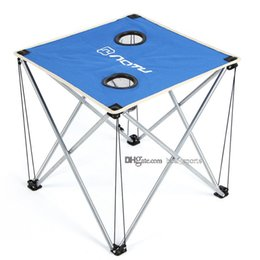 Wholesale travel car table - Portable Foldable Folding Table Desk Camping Outdoor Picnic Metal Tube Ultra-light Desk Oxford Fabric Cloth Camp tables LJJM87