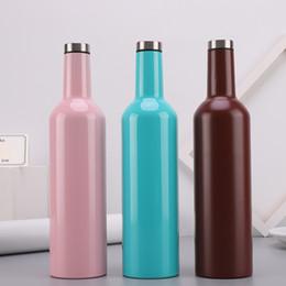 Canada 750 ml bouteilles de vin à double paroi en acier inoxydable vide flagon bouteilles Offre