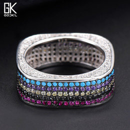 2019 дубай кольцо GODKI  Square S925 Sterling Silver Stackable Rings for women Wedding Multicolor CZ Zirconia Dubai Bridal Ring Bohemian HOT скидка дубай кольцо