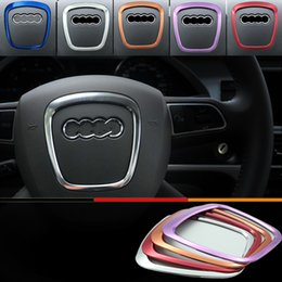 Wholesale Modified Sticker Cars - wholesale Car styling Aluminum Interior Modified Sticker For Audi A4 A5 A6 Q7 Q5 Steering Wheel Decorative Circle Cequins 3D Stickers