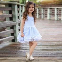 2019 vestidos de festa de algodão para crianças Bonito Da Criança Dos Miúdos Do Bebê Meninas Roupas O-pescoço menina azul listrado sem encosto Bowknot vestido de renda flor de algodão Princesa Do Partido Mini Vestidos De Vestido vestidos de festa de algodão para crianças barato